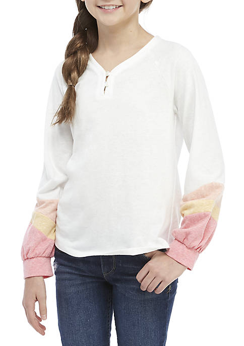 Girls 7-16 Colorblock Henley Shirt