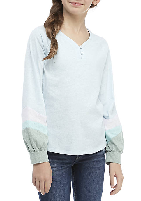 TRUE CRAFT Girls 7-16 Colorblock Henley Shirt