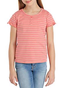 TRUE CRAFT Girls 7-16 LUREX® Stripe Lettuce Tee