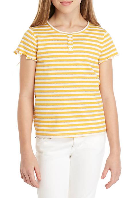 Girls 7-16 LUREX® Stripe Lettuce Tee