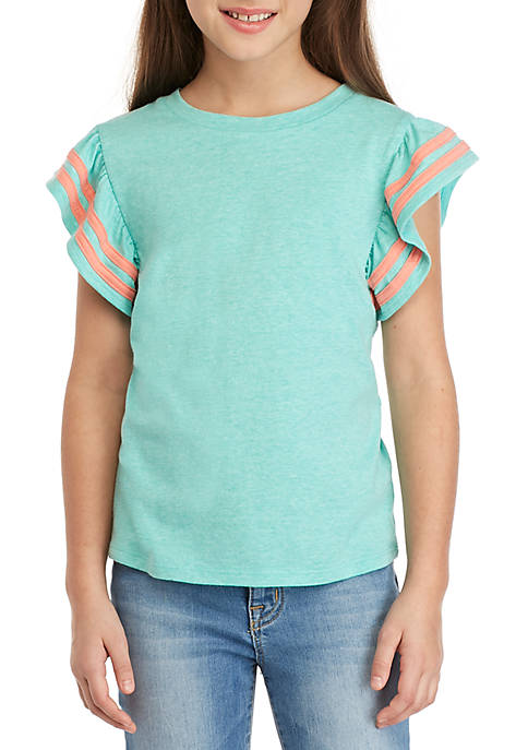 Girls 7-16 Ruffle Sleeve Top with Tipping