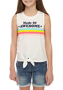 TRUE CRAFT Girls 7-16 Made of Awesome Tie Front Tank