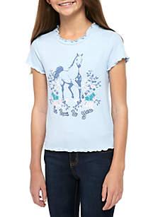 TRUE CRAFT Girls 7-16 Short Sleeve Ribbed Mock Neck Horse T Shirt