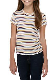 TRUE CRAFT Girls 7-16 Short Sleeve Ribbed Mock Neck Stripe T Shirt