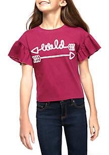 TRUE CRAFT Girls 7-16 Short Sleeve Wild Embroidered T Shirt