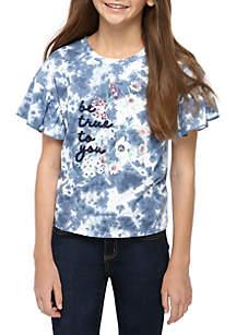 TRUE CRAFT Girls 7-16 Short Sleeve Tie Dye Flutter T Shirt
