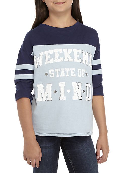 TRUE CRAFT Girls 7-16 3/4th Sleeve Weekend State