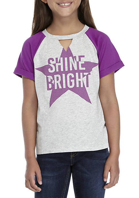 TRUE CRAFT Girls 7-16 Short Sleeve Keyhole Shine