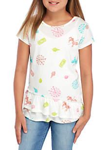 Girls 7-16 Short Sleeve Ruffle Hem Core Tee