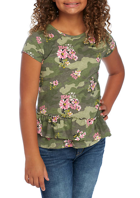 TRUE CRAFT Girls 7-16 Short Sleeve Ruffle Hem