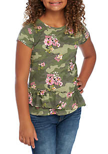 Girls 7-16 Short Sleeve Ruffle Hem Core Tee