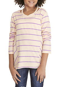 Girls 7-16 Stripe Cutout Top