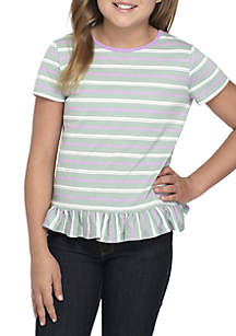 Girls 7-16 Short Sleeve Striped Ruffle Back Tee