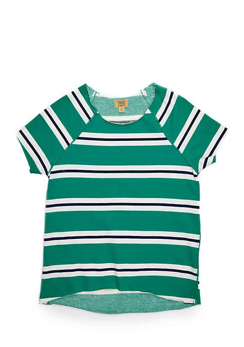 Girls 7-16 French Terry Rugby Stripe Sweatshirt