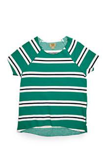 TRUE CRAFT Girls 7-16 French Terry Rugby Stripe Sweatshirt