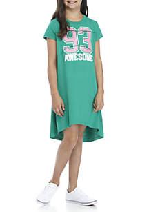 Girls 7-16 Short Sleeve French Terry Sweatshirt Dress