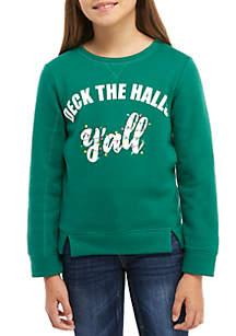 TRUE CRAFT Girls 7-16 Holiday Verbiage Sweatshirt
