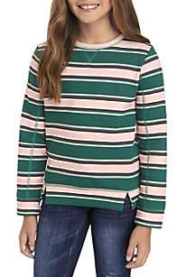 Girls 7-16 Holiday Rugby Stripe Sweatshirt