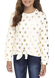 Girls 7-16 Holiday Foil Dot Sweatshirt