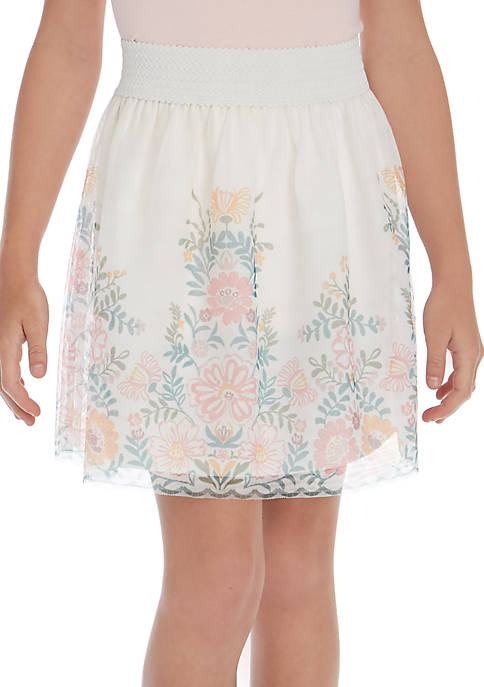 TRUE CRAFT Girls 7-16 Embroidery Party Skirt