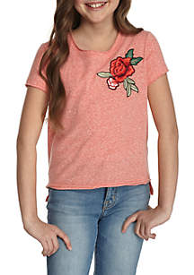 Girls 7-16 High Low Embroidered Tee