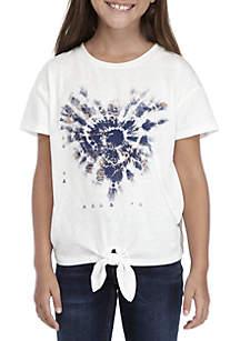Girls 7-16 Short Sleeve Tie Dye Heart Tie Sleeve Tee