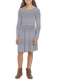 Girls 7-16 Long Sleeve Stripe Rib Knit Skater Dress