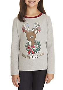 Girls 7-16 Long Sleeve Reindeer Vintage Ringer Tee