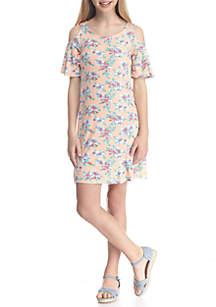 Floral Print Swing Dress Girls 7-16
