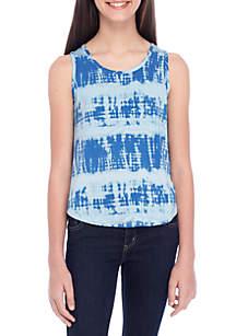 Girls 7-16 Tie Dye Print Back Lace-Up Tank