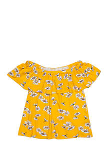Girls 7-16 Daisy Ruffle Off-The-Shoulder Knit Top