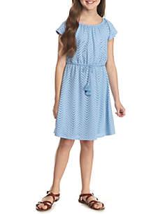Eyelet Belted Dress Girls 7-16