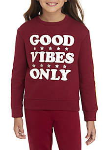 TRUE CRAFT Girls 7-16 Cozy Lined Verbiage Sweatshirt