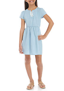 TRUE CRAFT Girls 7-16 Chambray Lace Front Dress