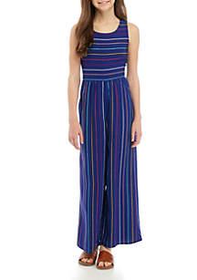 TRUE CRAFT Girls 7-16 Multi Stripe Wide Leg Jumpsuit