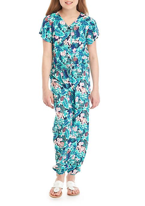 TRUE CRAFT Girls 7-16 Challis Printed Jumpsuit