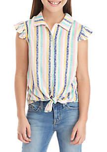 TRUE CRAFT Girls 7-16 Stripe Tie Front Top