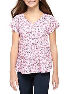 TRUE CRAFT Girls 7-16 Short Flutter Sleeve Tiered Woven Top