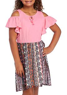Girls 7-16 Knit-to-Woven Ruffle Sleeve Knit Dress