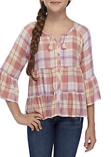 Girls 7-16 Tiered Ruffle Plaid Woven Top