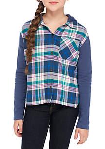 TRUE CRAFT Plaid Sweatshirt Long Sleeve Hoodie