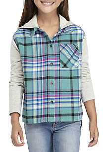 Girls 7-16 Plaid Sweatshirt Sleeve Shacket with Hood