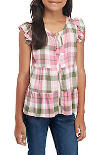 Girls 7-16 Tiered Plaid Peasant Top