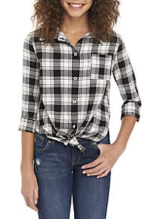 Girls 7-16 Lurex Tie Front Plaid Tunic