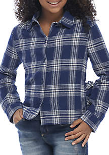 TRUE CRAFT Girls 7-16 Plaid Tunic with Side Ruffle