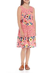 Girls 7-16 Sleeveless Tiered Twin Print Dress
