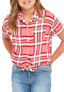 Girls 7-16 Short Sleeve Plaid Tie Front Top