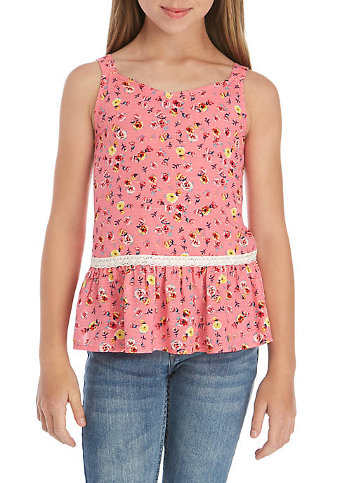 TRUE CRAFT Girls 7-16 Tiered Floral Peplum Top