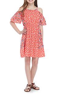 Twin Print Cold Shoulder Dress Girls 7-16