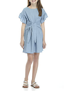 Girls 7-16 Chambray Tie Front Dress